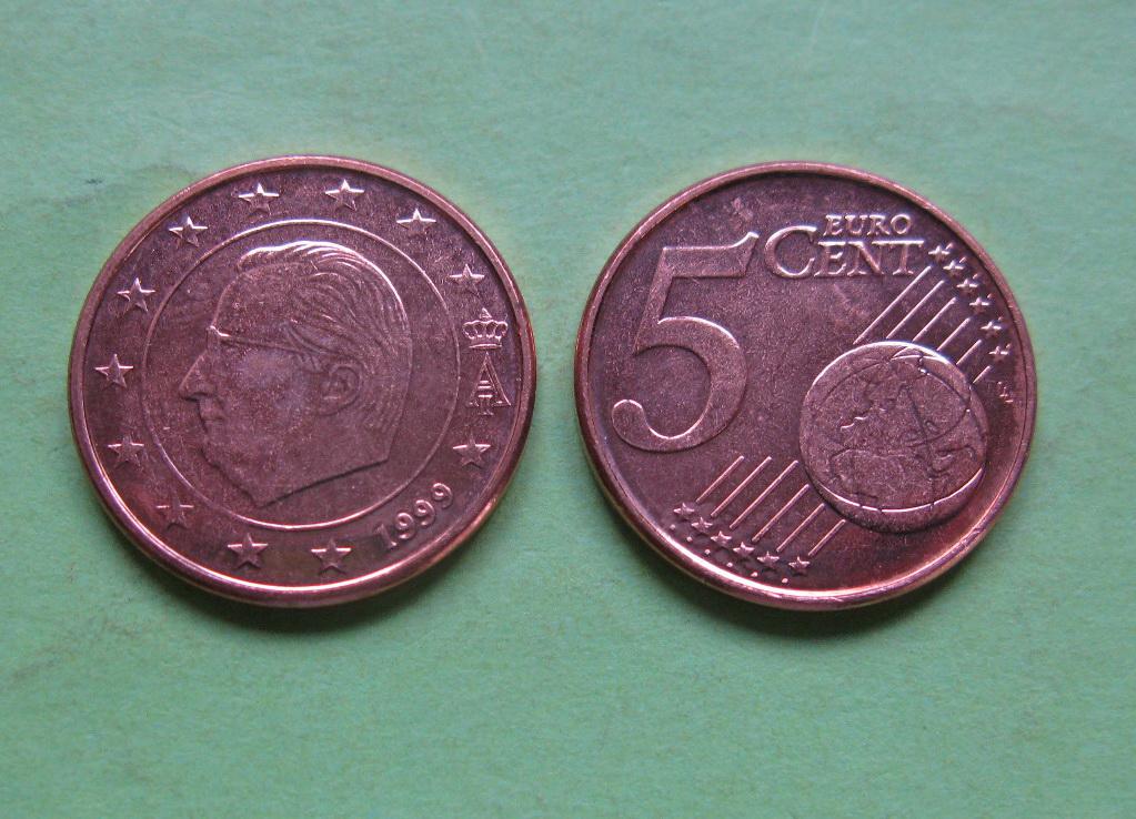 Бельгия 5 евро центов 1999 г. UNC