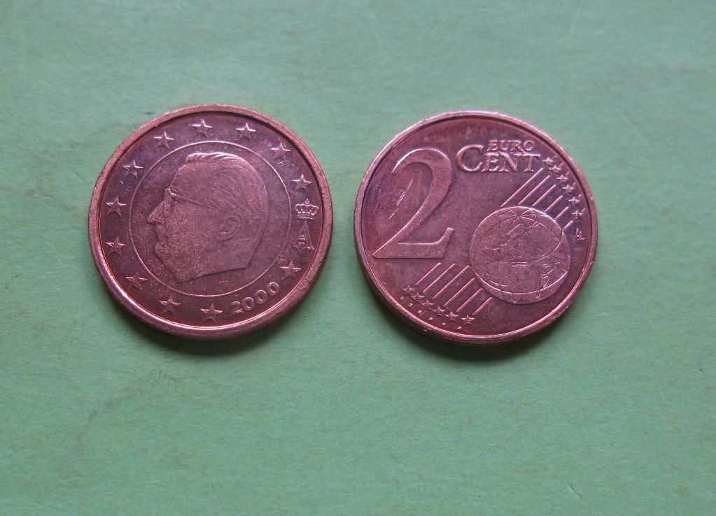 Бельгия 2 евро цента 2000 г. UNC