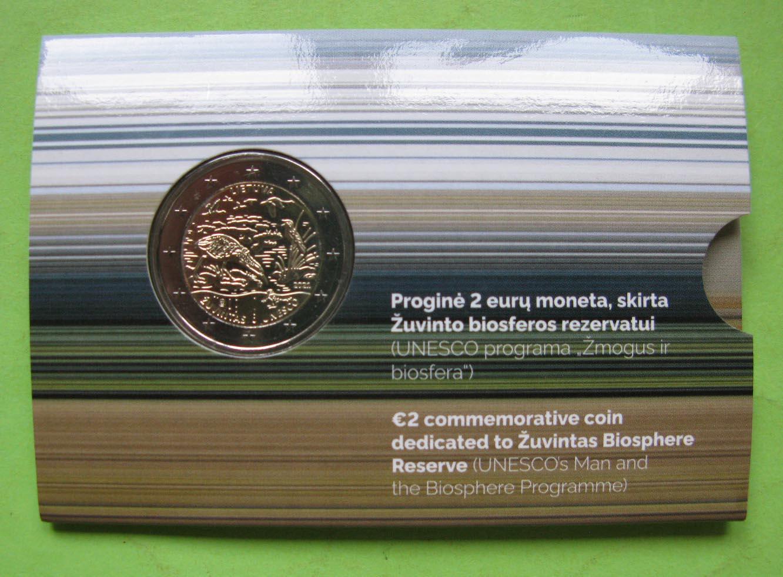Литва 2 евро 2021 г. Биосферный заповедник Жувинтас ( в карточке)