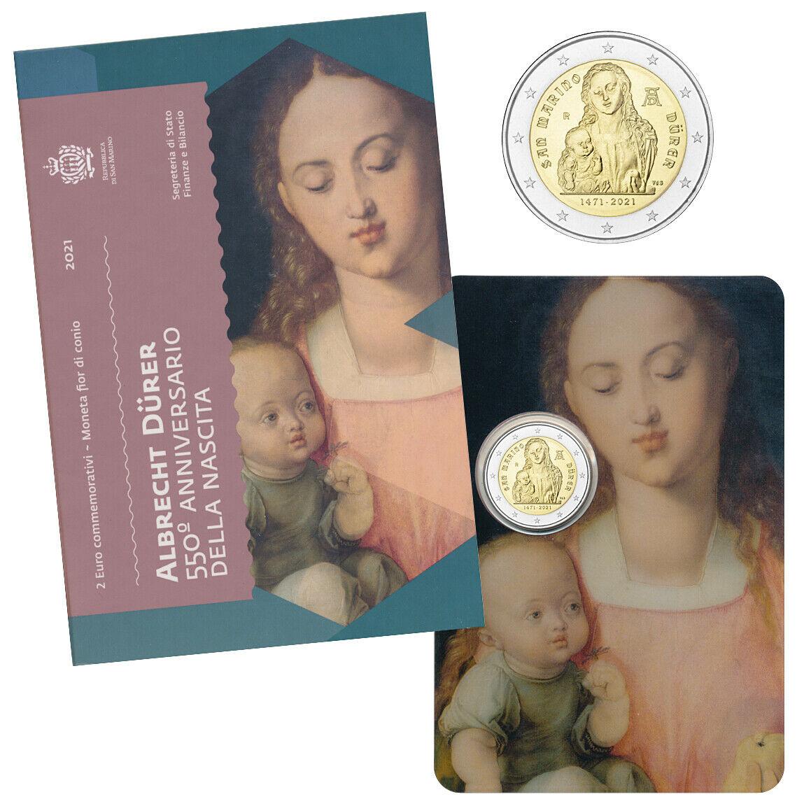 Сан Марино 2 евро 2021 550 лет со дня рождения Альбрехта Дюрера