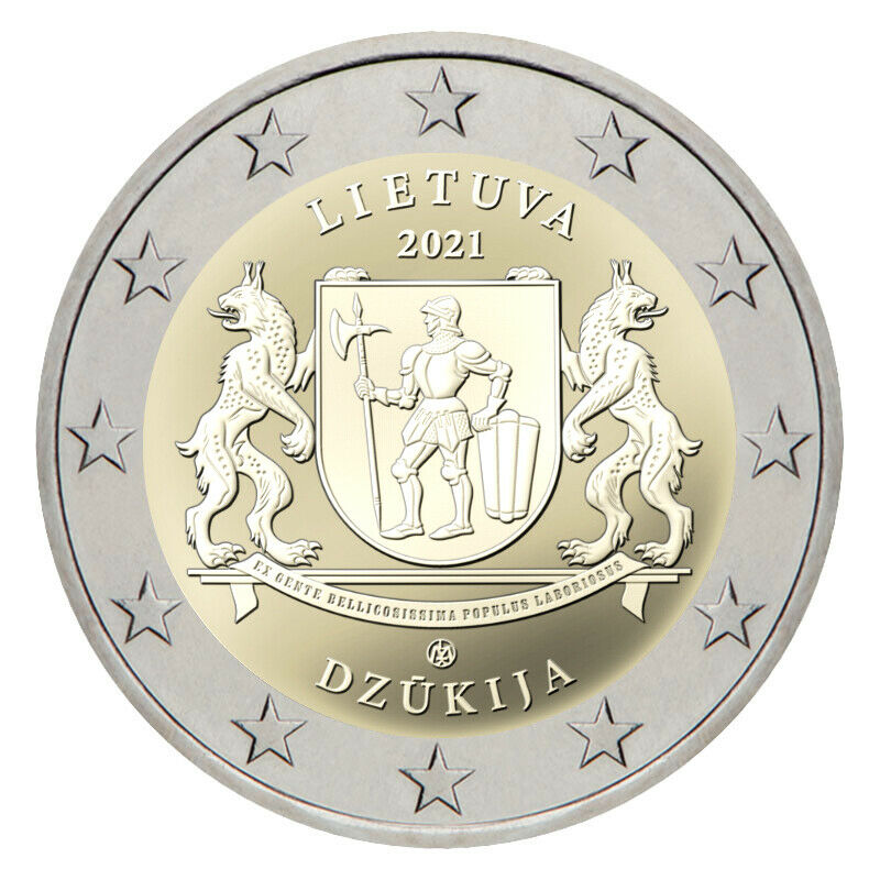 Литва 2 евро 2021 г. Регион Дзукия