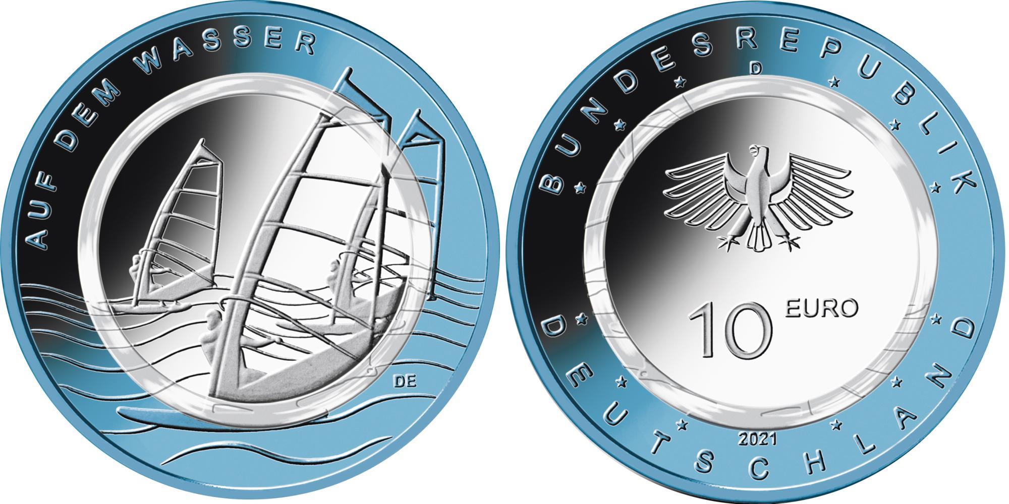Германия 10 евро 2021 г. На воде  (G)