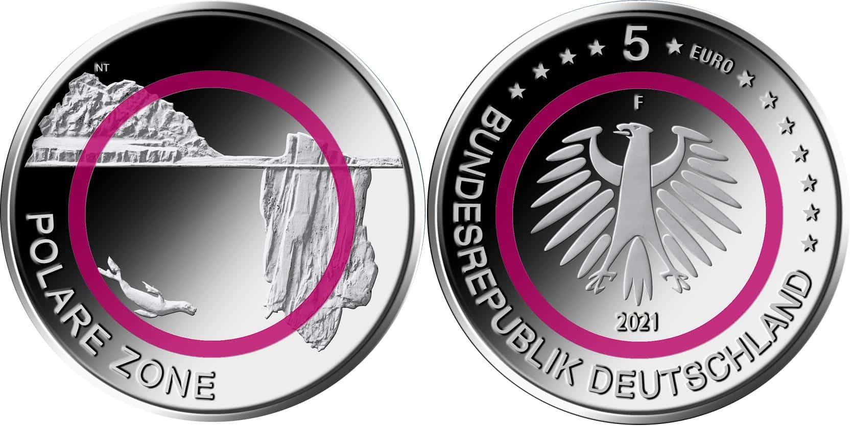Германия 5 евро 2021 г. Полярная зона  ( F)