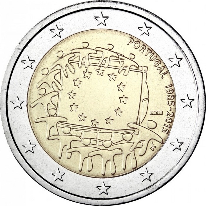 Португалия 2 евро 2015 г. 30 лет флагу Евросоюза