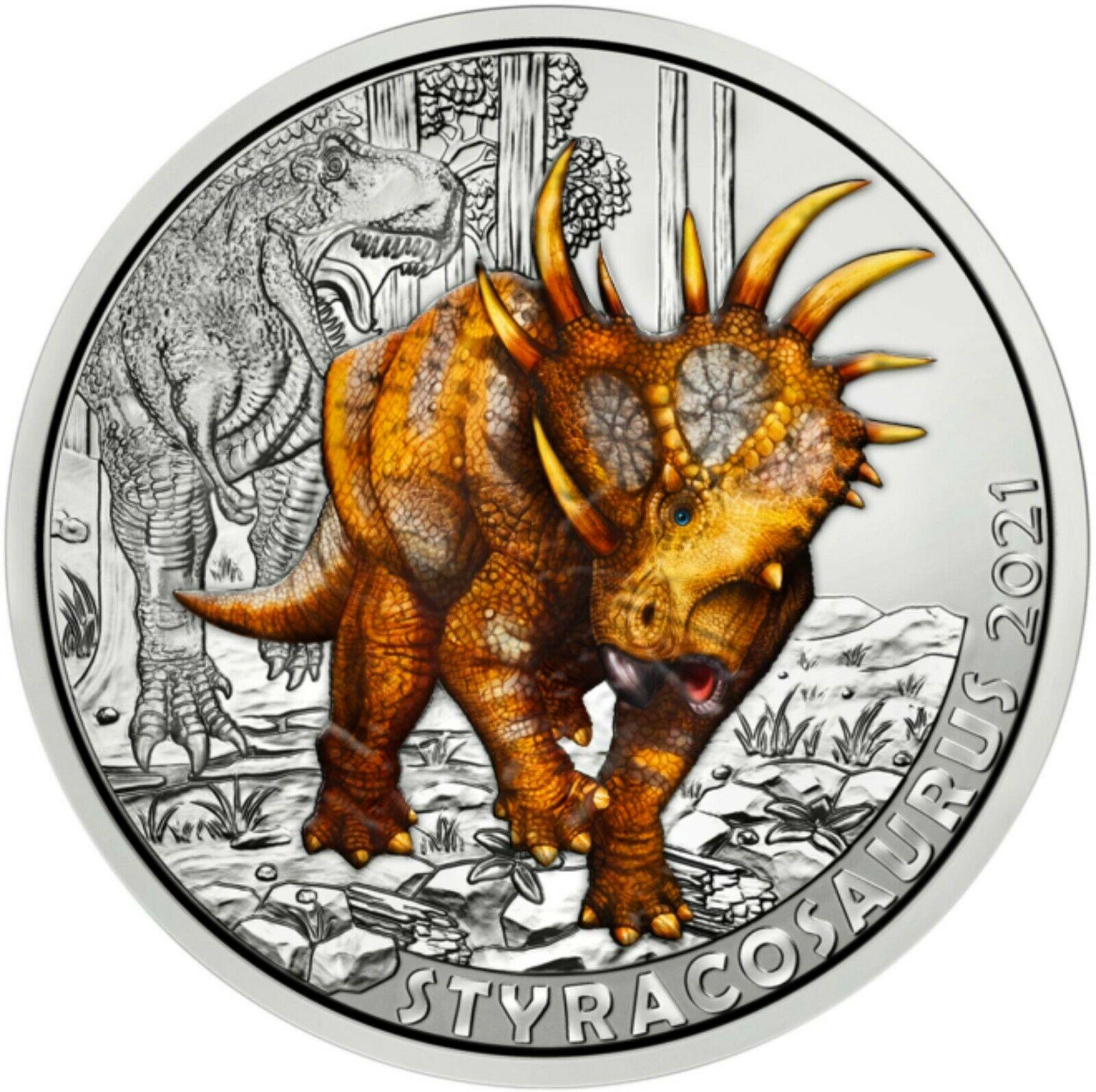 Австрия 3 евро 2021 г.  Стиракозавр