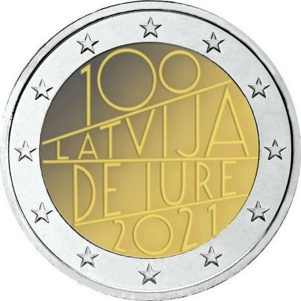 Латвия 2 евро 2021 г. 100-летие признания Латвии де-юре