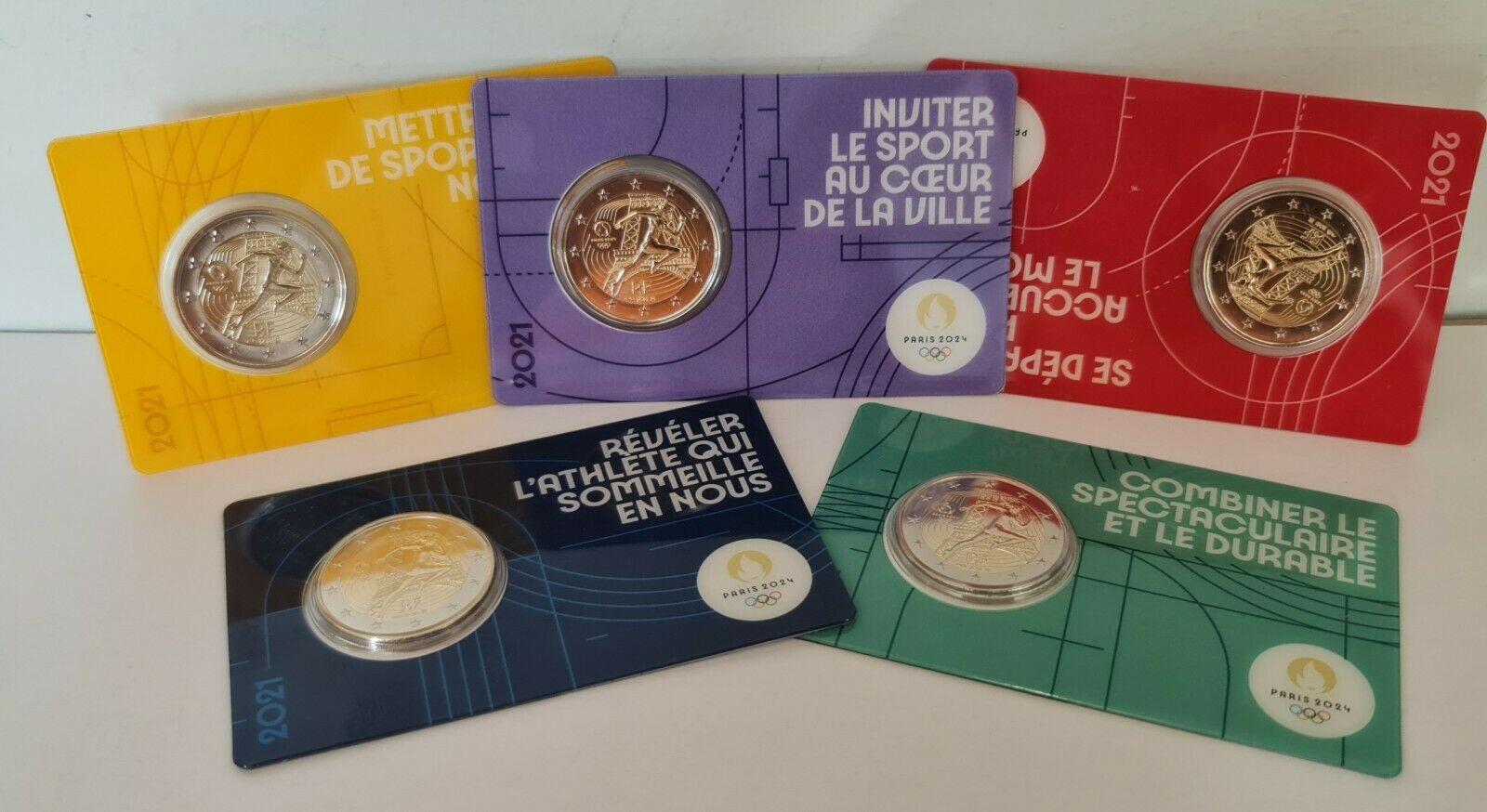 Франция 2 евро 2021 г. Летние Олимпийские игры 2024 в Париже ( комплект из пяти карточек)