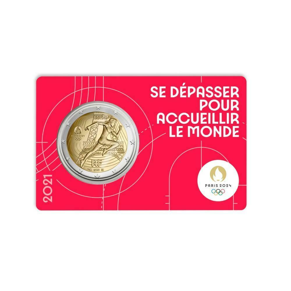Франция 2 евро 2021 г. Летние Олимпийские игры 2024 в Париже ( одна карточка на выбор))
