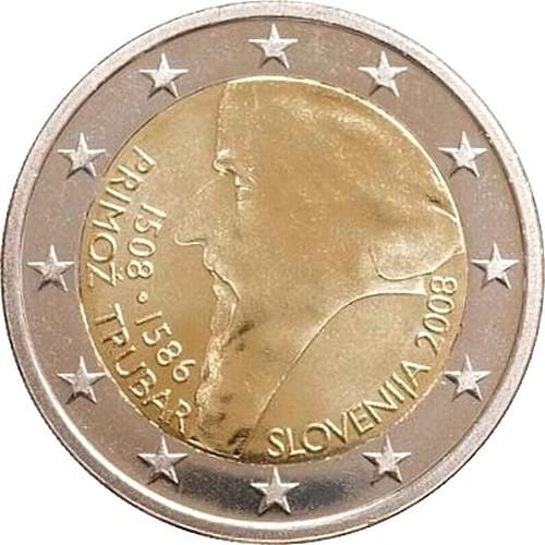 Словения 2 евро 2008 г. Примож Трубар
