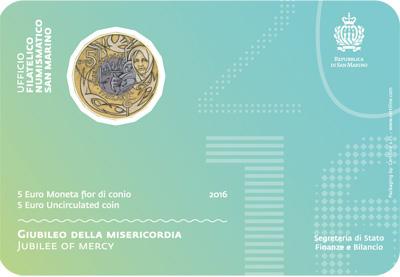 Сан Марино 5 евро 2016 г. Юбилей милосердия (в карточке)