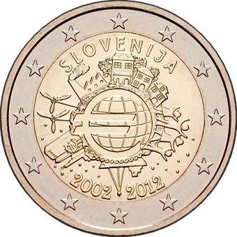 Словения 2 евро 2012 г. 10 лет наличному евро