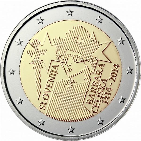 Словения 2 евро 2014 г.  Барбара Цилли