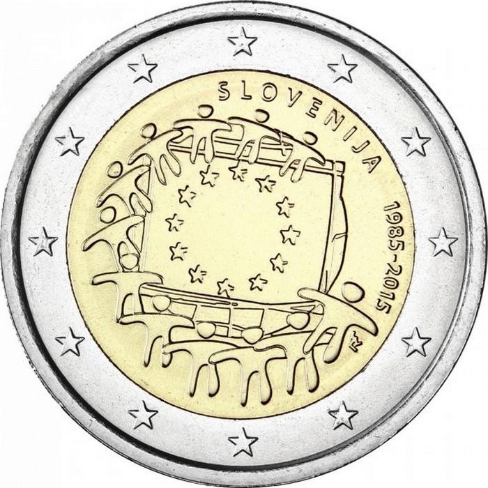 Словения 2 евро 2015 г. 30 лет флагу Евросоюза