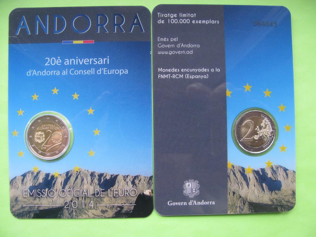 Андорра 2 евро 2014 г. Вступления Андорры в Совет Европы