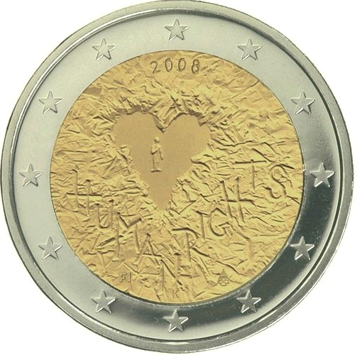 Финляндия 2 евро 2008 г.  Декларация прав человека