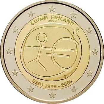 Финляндия 2 евро 2009 г. 10 лет экономическому союзу