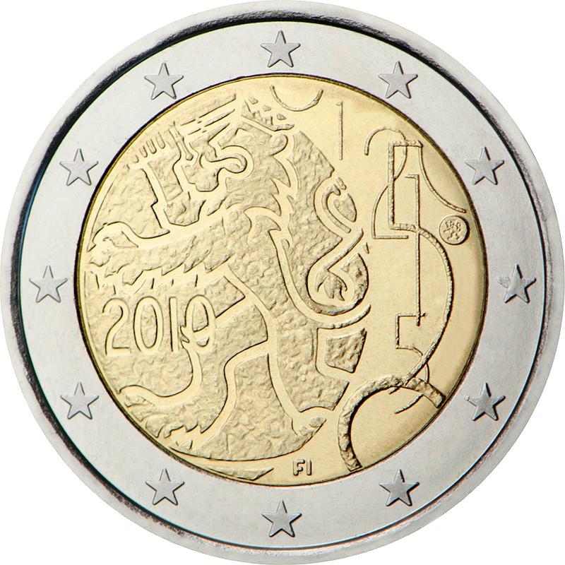 Финляндия 2 евро 2010 г. 150 лет финской валюте