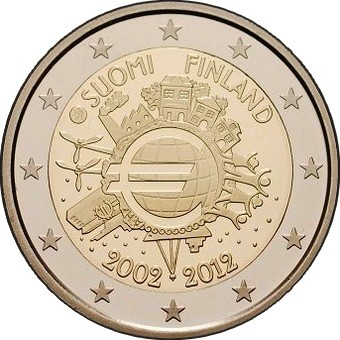 Финляндия 2 евро 2012 г. 10 лет наличному евро