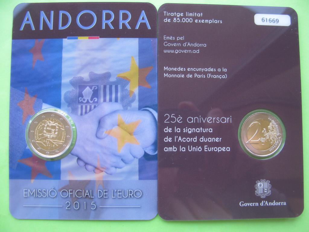 Андорра 2 евро 2015 г. Таможенное соглашение с ЕС