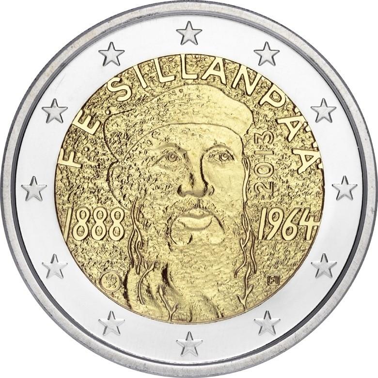 Финляндия 2 евро 2013 г. Эмиль Силланпяя