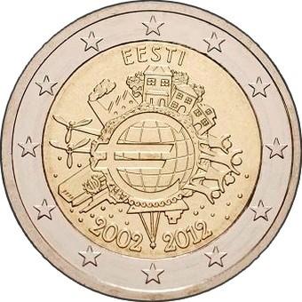 Эстония 2 евро 2012 г. 10 лет наличному евро