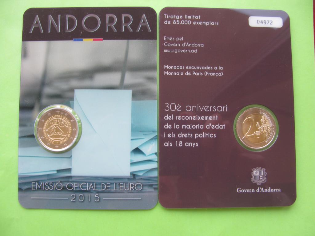 Андорра 2 евро 2015 г.  Совершеннолетие в 18 лет