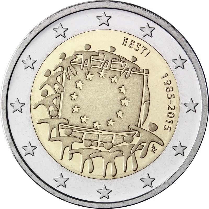Эстония 2 евро 2015 г. 30 лет флагу Евросоюза