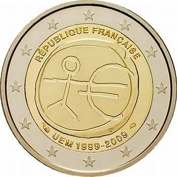 Франция 2 евро 2009 г.  10 лет экономическому союзу