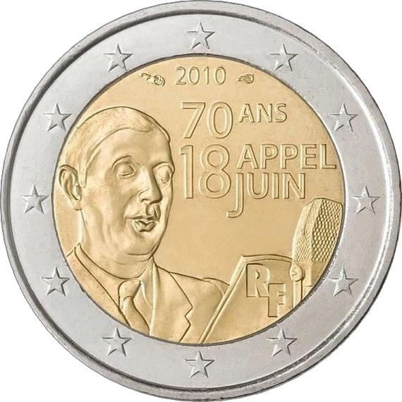 Франция 2 евро 2010 г. Речь Шарля де Голля