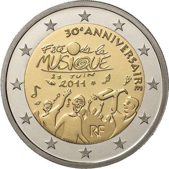 Франция 2 евро 2011 г.   30 лет фестивалю музыки