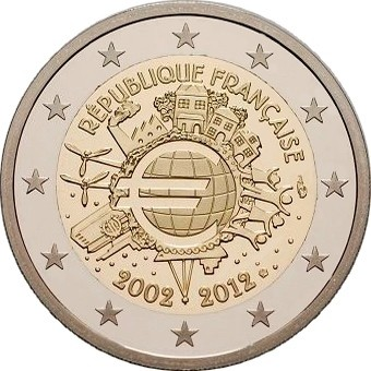 Франция 2 евро 2012 г.  10 лет наличному евро