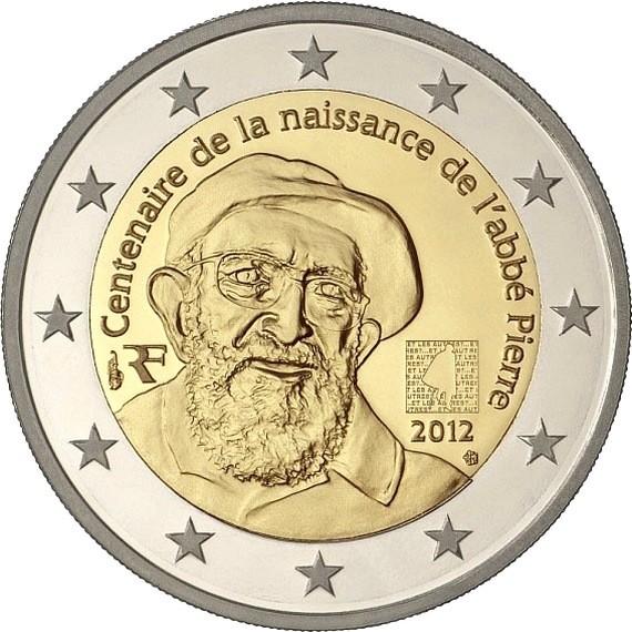 Франция 2 евро 2012 г. Аббат Пьер