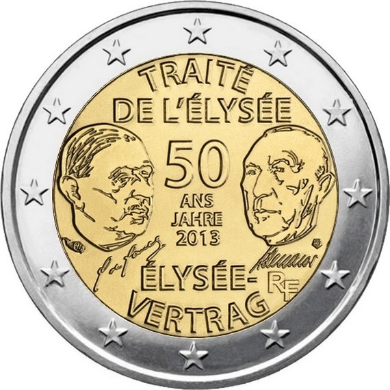 Франция 2 евро 2013 г. Елисейский договор