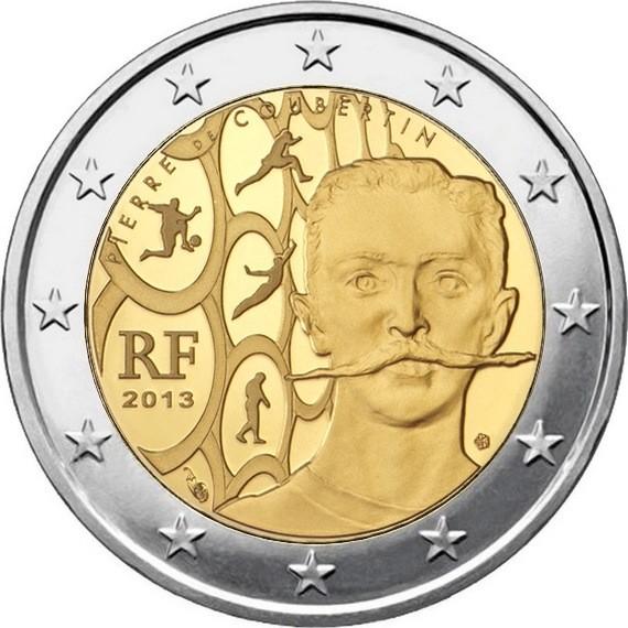 Франция 2 евро 2013 г.  Пьер де Кубертен