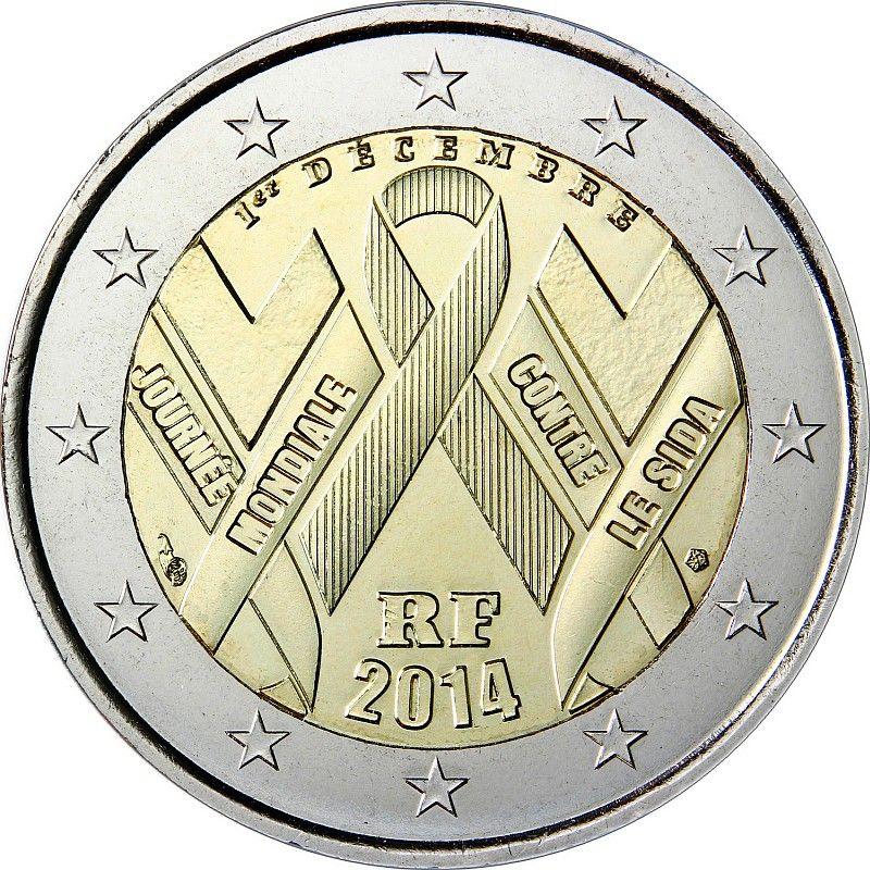 Франция 2 евро 2014 г. День борьбы со СПИДом