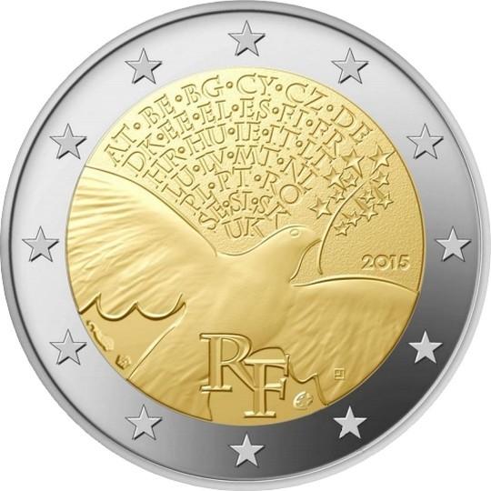 Франция 2 евро 2015 г.  70 лет мира в Европе