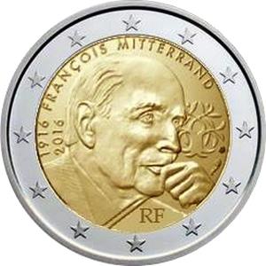 Франция 2 евро 2016 г.  Франсуа Миттеран