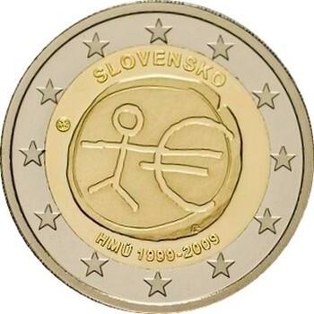 Словакия 2 евро 2009 г.   10 лет экономическому союзу
