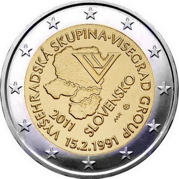 Словакия 2 евро 2011 г.   Вышеградская группа