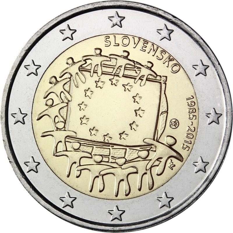 Словакия 2 евро 2015 г.   30 лет флагу Евросоюза