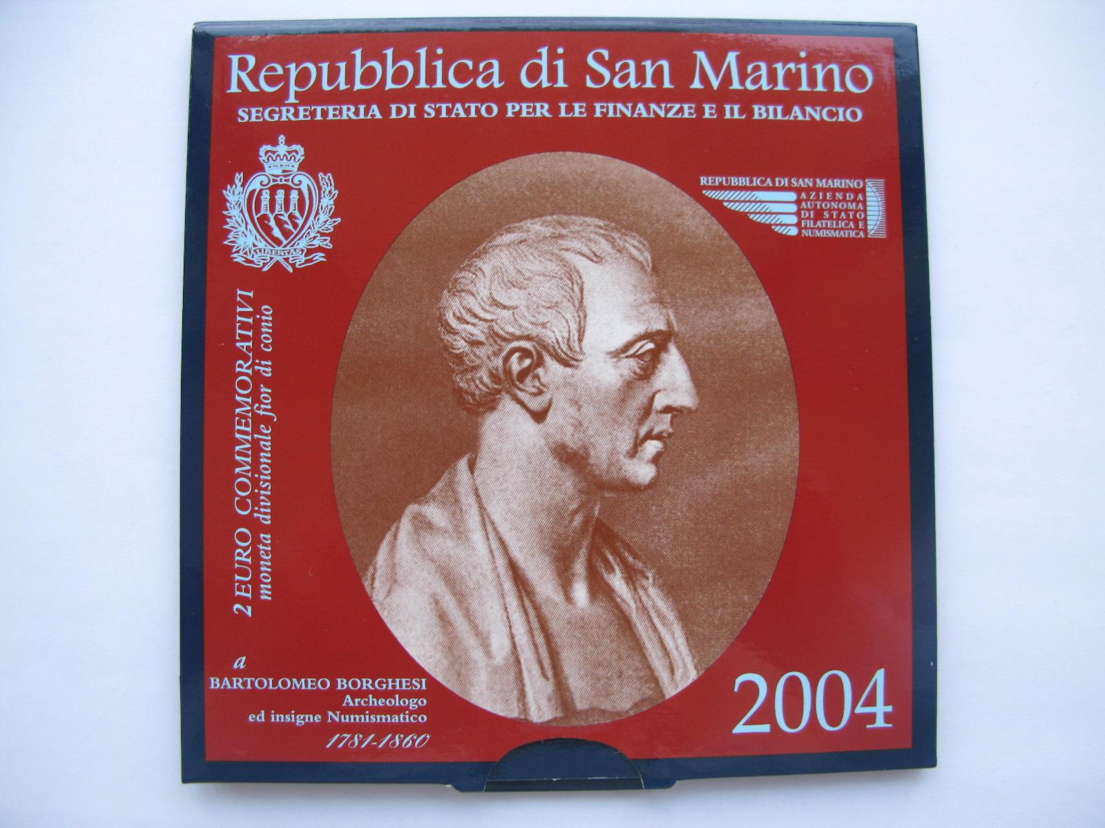 Сан Марино 2 евро 2004 Бартоломео Боргези