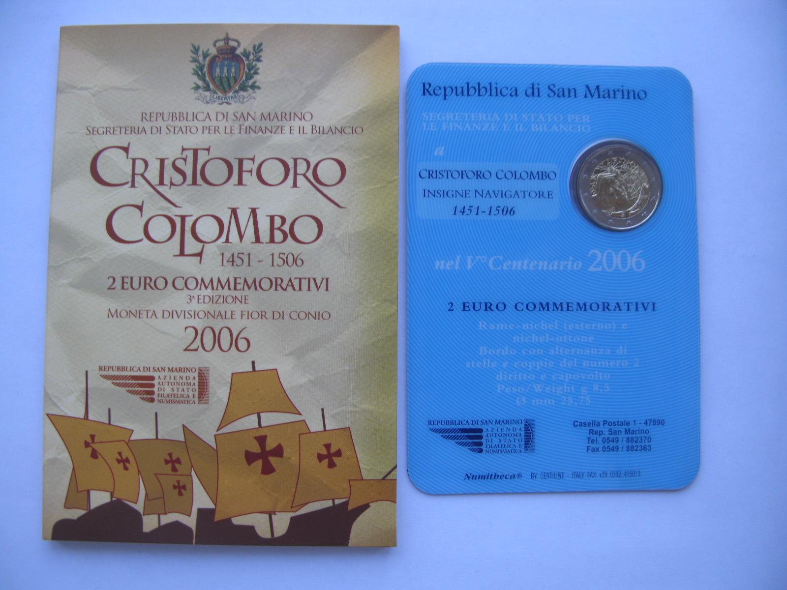 Сан Марино 2 евро 2006  Христофор Колумб