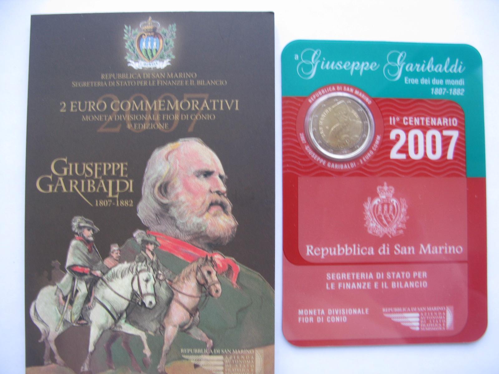 Сан Марино 2 евро 2007  Джузеппе Гарибальди