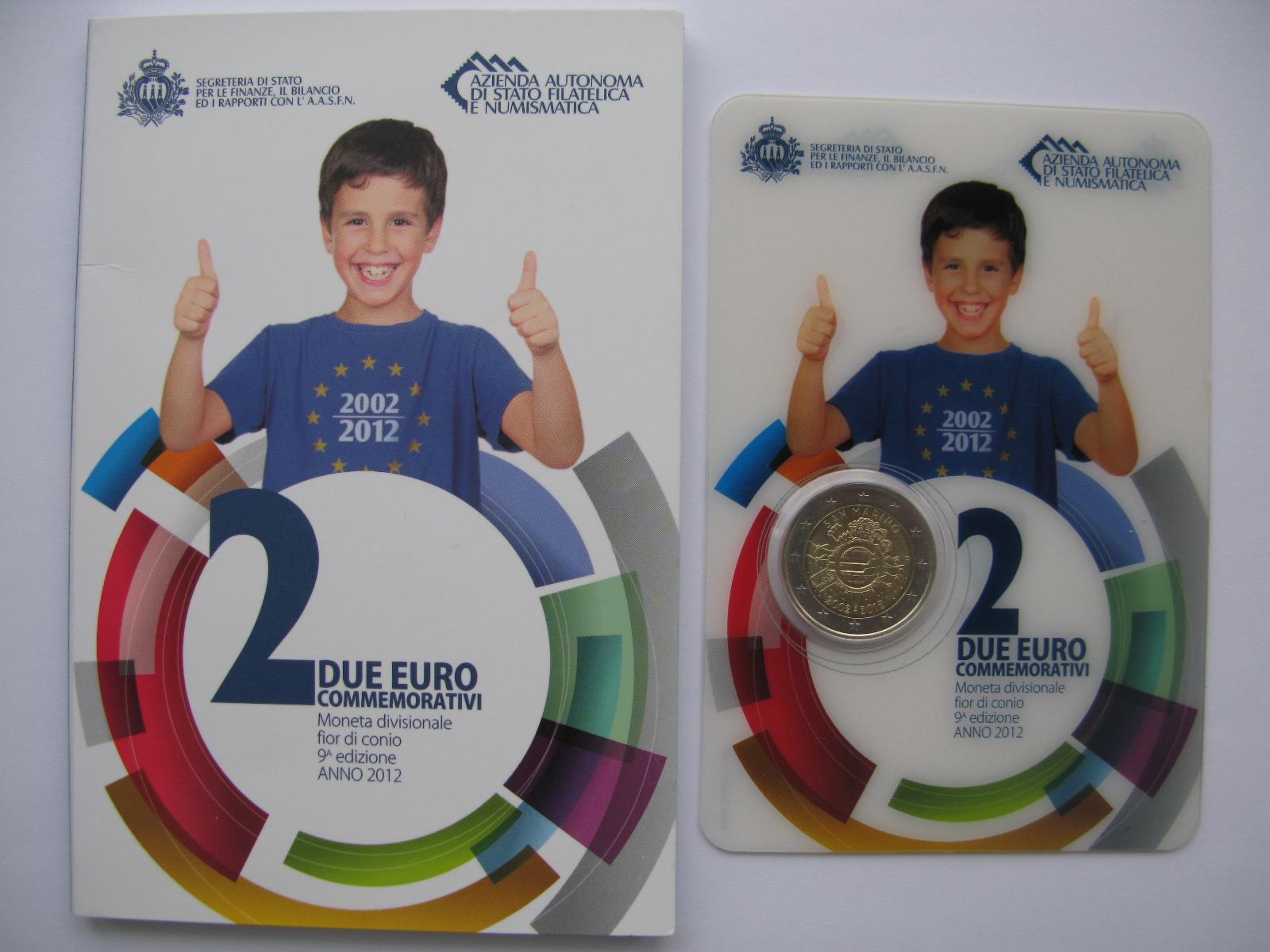 Сан Марино 2 евро 2012  10 лет наличному евро
