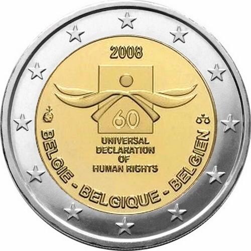 Бельгия 2 евро 2008 г. Декларация прав человека