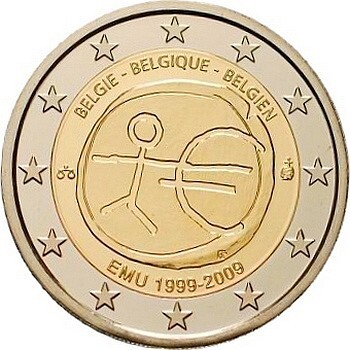 Бельгия 2 евро 2009 г. 10 лет экономическому союзу