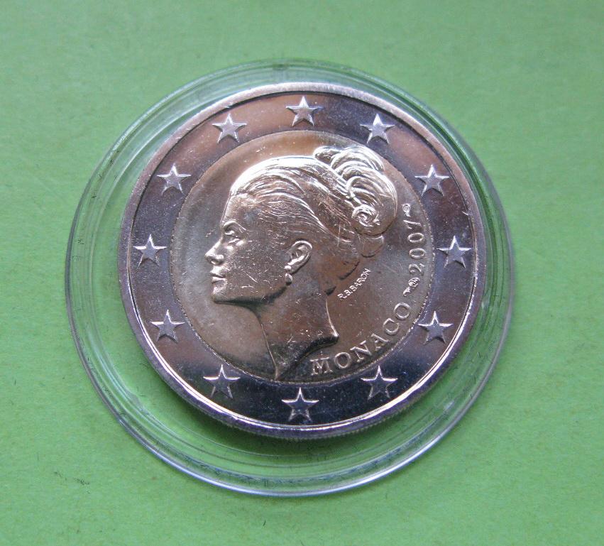 Монако 2 евро 2007 г. 25 лет со дня смерти Грейс Келли
