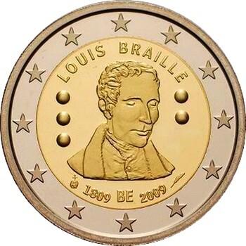 Бельгия 2 евро 2009 г. Луи Брайль