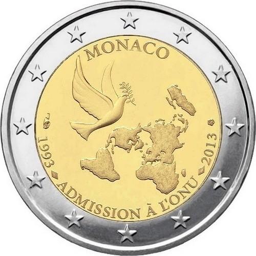Монако 2 евро 2013 г. 20 лет со дня вступления в ООН