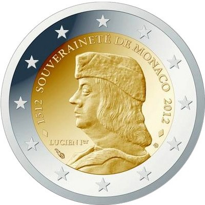 Монако 2 евро 2012 г. 500 лет независимости Монако